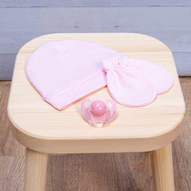 Σετ βρεφικό σκουφάκι & γάντια ροζ