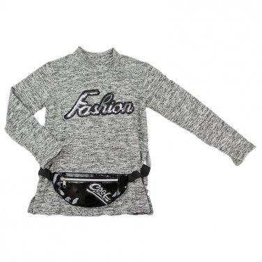 """Μπλούζα με Belt Bag """"Fashion"""" μελανζέ"""
