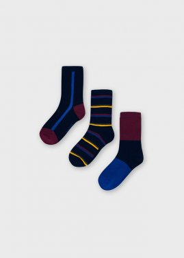 """Σετ 3 ζευγάρια κάλτσες """"Stripes"""" μπορντό"""