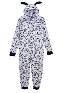 """Ολόσωμη πυτζάμα fleece """"Snoopy"""" λευκή"""