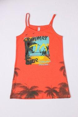 """Νυχτικό """"Summer"""" time"""" πορτοκαλί"""
