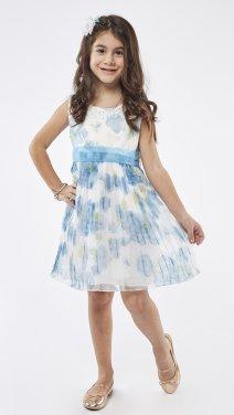 """Φόρεμα γαλάζιο με στέκα """"flowers"""""""