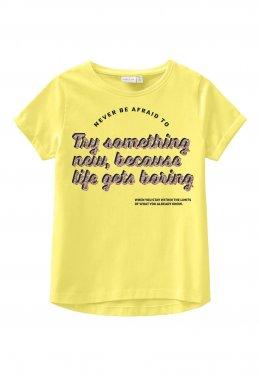 """Μπλούζα """"Try something new"""" κίτρινη"""