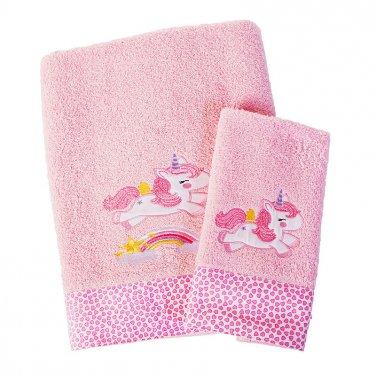 """Πετσέτες σετ 2τμχ ροζ """"Unicorn"""""""