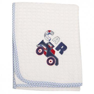 """Κουβέρτα πικέ """"Car"""" 80X110 λευκή/μπλε"""