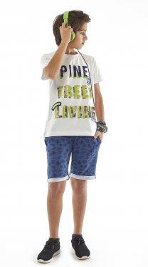 """Σετ βερμούδα """"Pine trees"""" λευκό"""