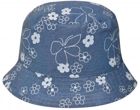 """Στρογγυλό καπέλο """"Flowers"""" μπλε"""