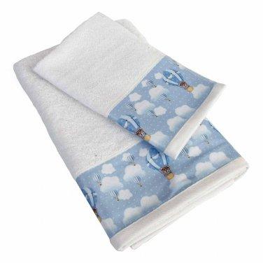 """Πετσέτες σετ 2τμχ """"Phileas"""" λευκό/σιέλ"""