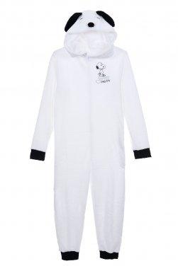 """Ολόσωμη πυτζάμα fleece """"Love Snoopy"""" λευκή"""