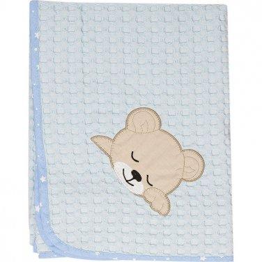 """Κουβέρτα πικέ """"Sleeping Bear"""" 80X110 γαλάζια"""