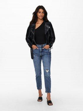 """Mπουφάν """"Biker Leather Jacket"""" μαύρο"""