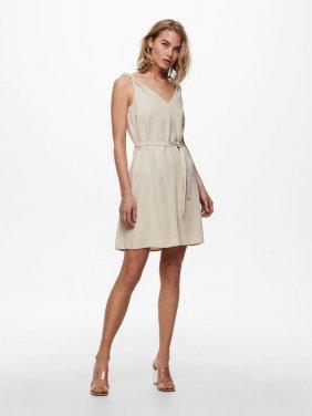 Φόρεμα V-neck μπεζ