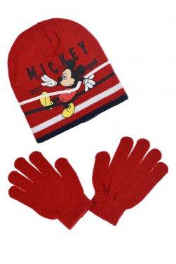 """Σετ σκούφος και γάντια """"Mickey stripes"""" κόκκινο"""