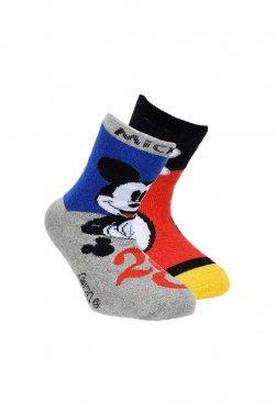 """Σετ 2 ζευγάρια αντιολισθητικές κάλτσες """"Mickey mouse"""" γκρι μελανζέ"""