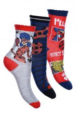"""Σετ 3 ζευγάρια κάλτσες """"Lady Bag"""" γκρι μελανζέ"""