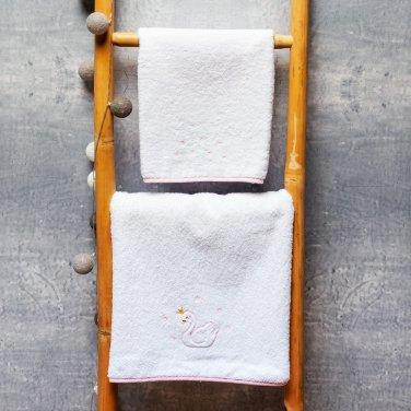 """Πετσέτες σετ 2τμχ """"Swan Princess"""" λευκό"""