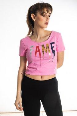 """Μπλούζα crop top """"FAME"""" ροζ"""