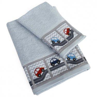 """Πετσέτες σετ 2τμχ """"Auto Road"""" σιέλ"""