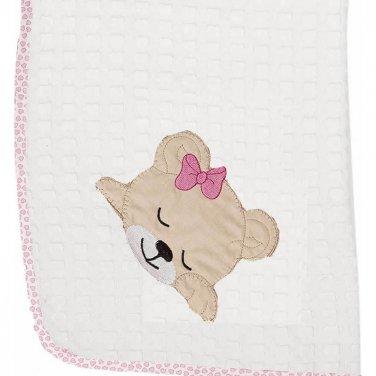 """Κουβέρτα πικέ """"Sleeping Bear"""" λευκή/ροζ"""