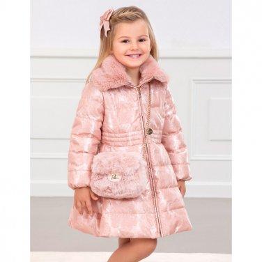 Μακρύ μπουφάν με γουνάκι ροζ