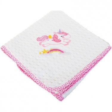 """Κουβέρτα πικέ Κούνιας """"Unicorn"""" λευκή/ροζ"""