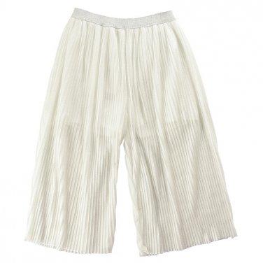 Παντελόνα πλισέ ημιδιάφανη λευκή