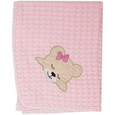 """Κουβέρτα πικέ Κούνιας """"Sleeping Bear"""" ροζ"""